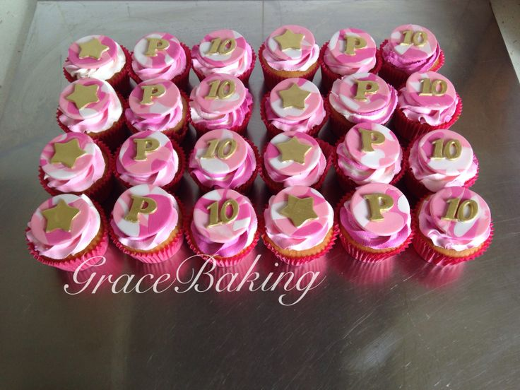 Pink camouflage cupcakes, French vanilla with raspberry swirl icing. Made by Grace Baking