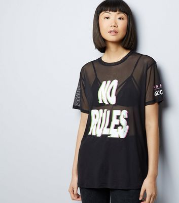 Black No Rules Glitch Print Mesh T-Shirt