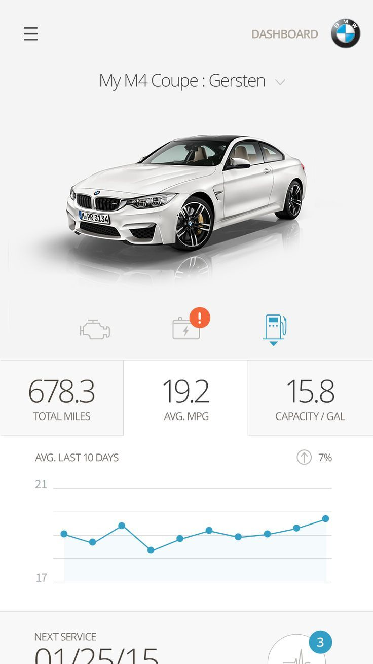 BMW Mobile App Dashboard UI | Clean and minimal user interface design