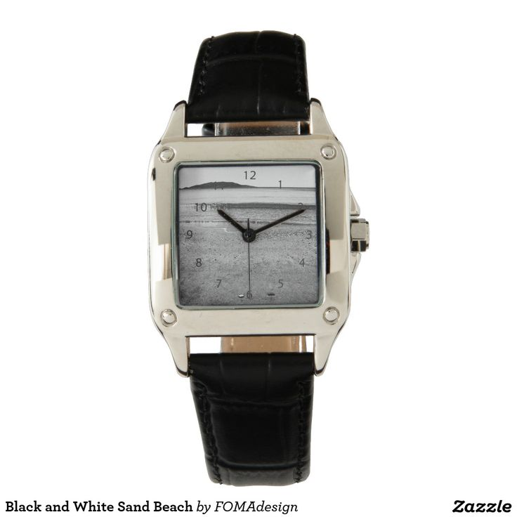 Black and White Sand Beach / Square Black Leather Strap  Watch, by FOMAdesign