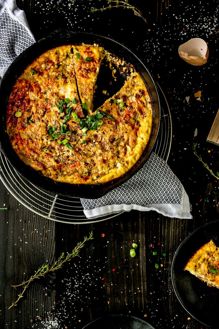 Chorizo Frittata with Caramelized Shallots and Red Pear