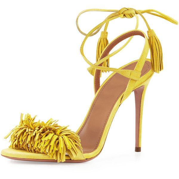 Aquazzura Wild Thing Suede Sandal ($840) ❤ liked on Polyvore featuring shoes, sandals, heels, lemon, strappy high heel sandals, high heel sandals, suede sandals, ankle strap high heel sandals and heeled sandals