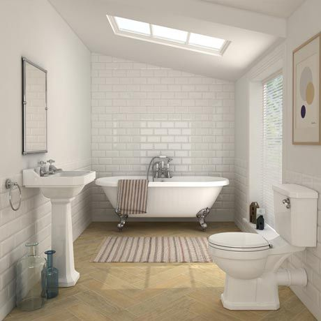 Carlton Traditional Double Ended Free Standing Roll Top Bath Suite (1695mm)
