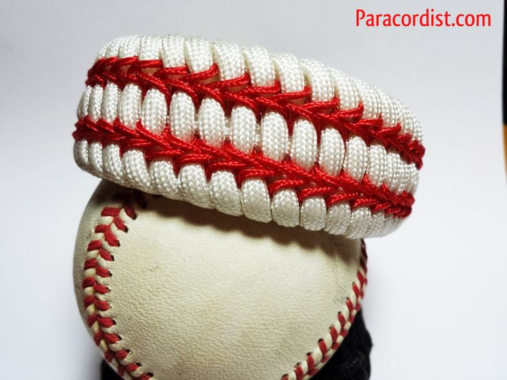 "The ""Curve Ball"" Paracord Survival Bracelet. Whether on the baseball field, the couch this is the ultimate hand made (in the USA) baseball fan bracelet! Made with real 550 cord. http://www.paracordist.com"