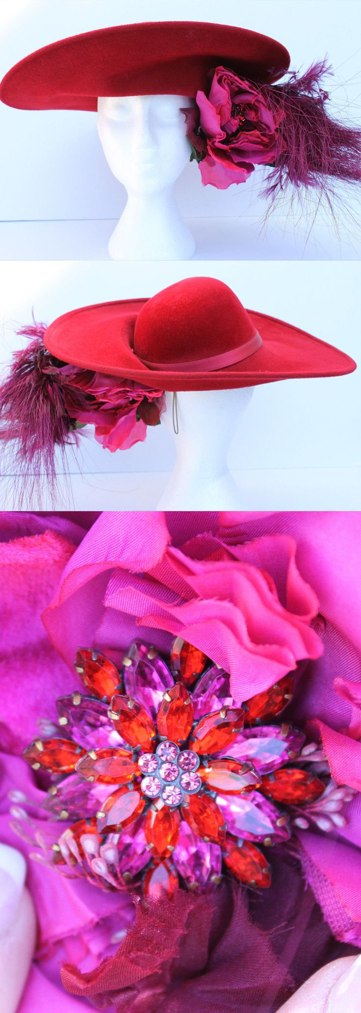 Preloved now on Ebay, Philip Treacy Large Floral and Feathered Hat with in Reds and Pinks. Kentucky Derby Big Hats outfits ideas. Second Hand Philip Treacy Hat. #kentuckyderby #derbyhats #kentuckyderbyhats #motherofthebride #racingfashion #philiptreacy #philiptreacyhats #weddinghats #weddings #summerfashion #fashion #promotion #ebayfinds