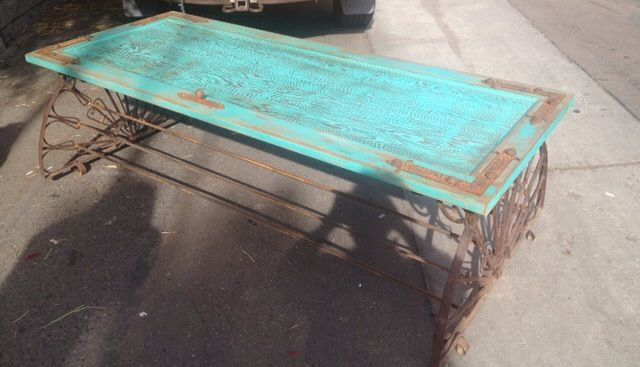 When is a door not a door? When it's a rustic AZ table. Made this using an old door from a house built in Escondido, CA in 1935, old rusty metal salvage and a little creativity. For Sale At State Street MarketPlace in Carlsbad, CA SOLD!!!!