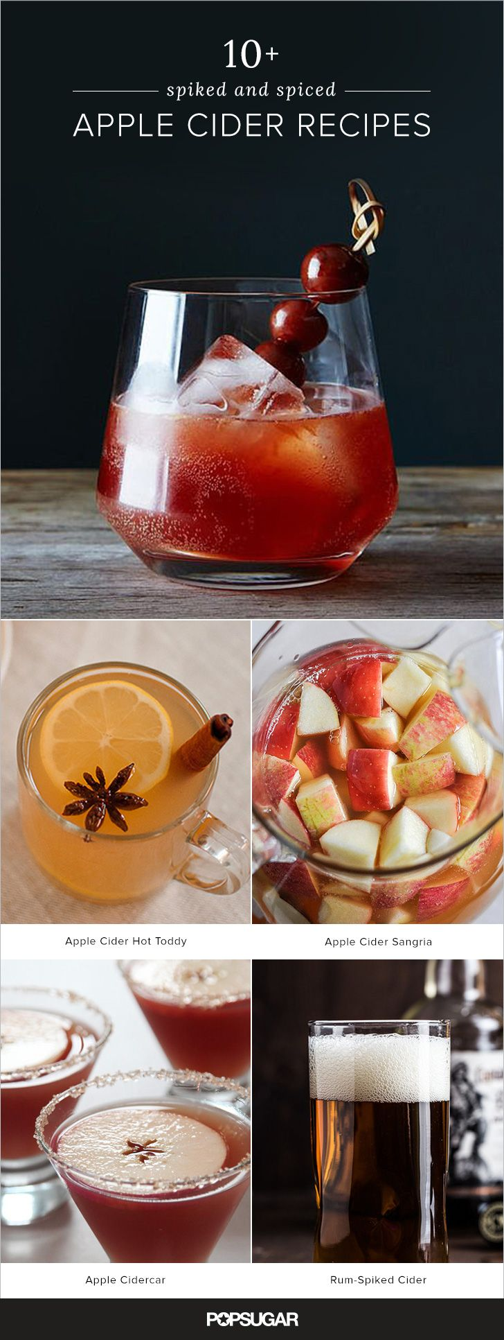 Few things feel more autumnal than spiced cider. Add a splash —or more— of a chest-warming spirit like bourbon and it's pretty much the perfect thing to cozy up with. We found 11 tempting twists; try them all for a fun Fall challenge.