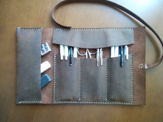 Leather Pencil Case, Tool Roll, Brush Roll, Art Wrap, Makeup Roll, Pencil Organiser and Gift