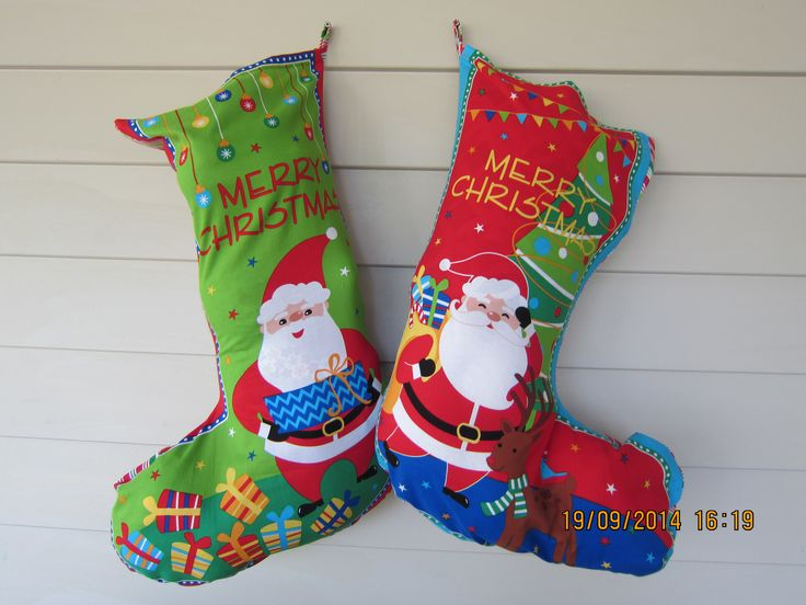 Green and Red Santa Stocking (H 70 cm x top W 31cm and bottom W 47cm) - $29.95 each + postage