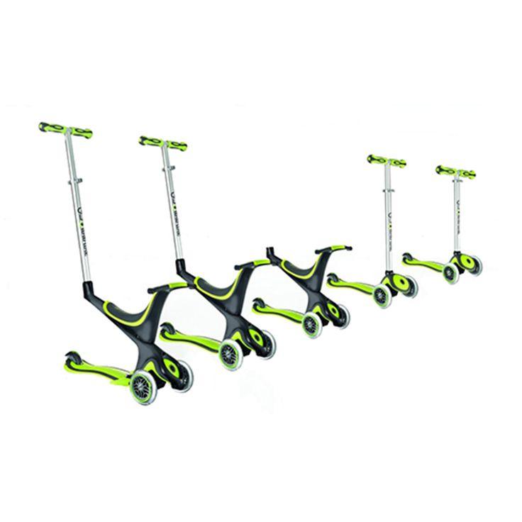 GLOBBER  SCOOTER GLOBBER 5-1 BLUE  Con un asiento desmontable, My Free 5 en 1 se convierte en el primer triciclo para niños de 12 meses de edad en adelante. Para trasladar a los pequeños a medida que aprenden, sólo tienes que añadir el manillar para transformar el scooter en un caballito. A partir de 24 meses, el asiento se puede quitar para que el pequeño pueda realizar su primer paseo sobre ruedas.  $69.990  Encuéntralo en la tienda Intercycles Kids