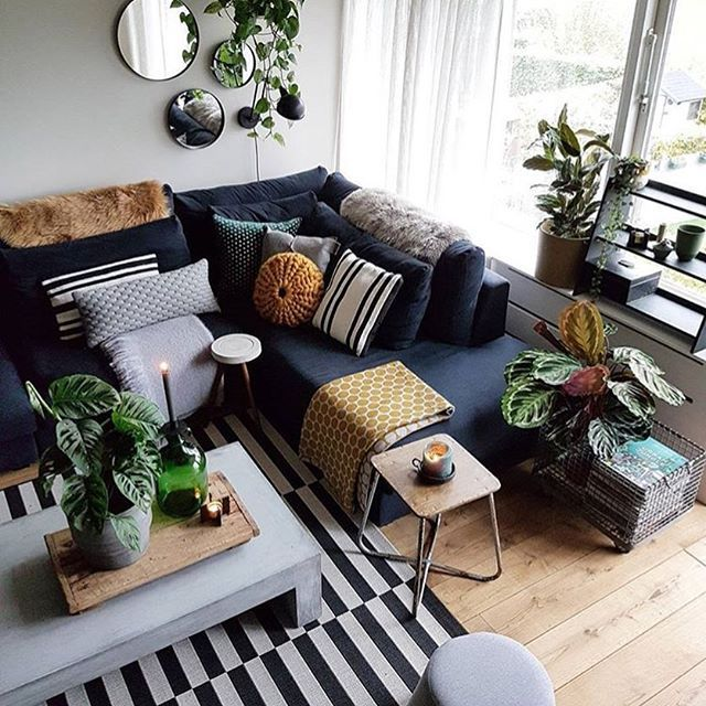 26 Relaxing Green Living Room Ideas: Relaxing With The Green Friends Calathea And Pothos. Enjoy