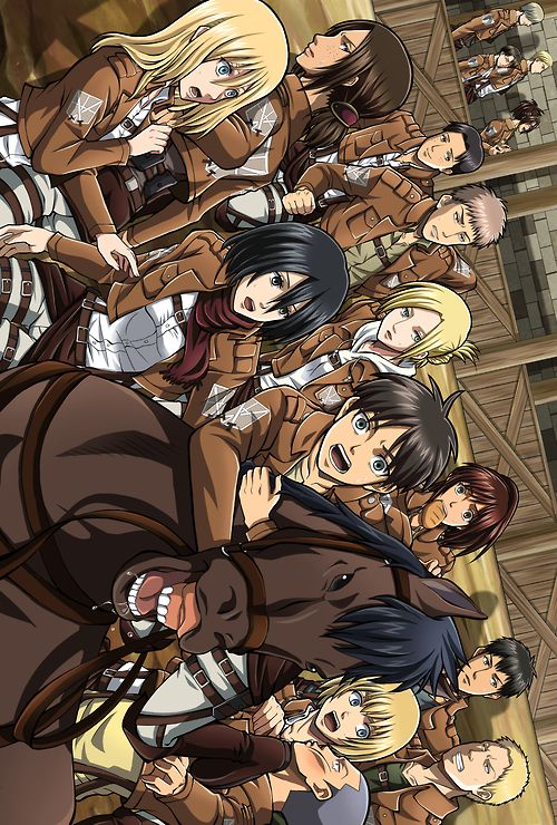 """Attack on Titan ~~ Working in the stables is """"fun""""? :: Look at Marco. What's up with that smirk?! <<<< Why is Eren hugging Jean? Oh wait.."""