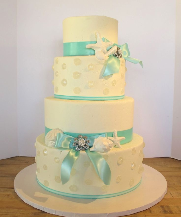 Seashell and green theme cake by BitterSweets