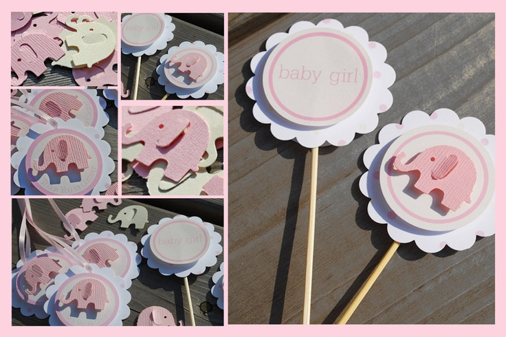 Pink Elephant Baby Shower or First Birthday Party Set - Girl - Tags, Toppers and Confetti. $36.00, via Etsy.