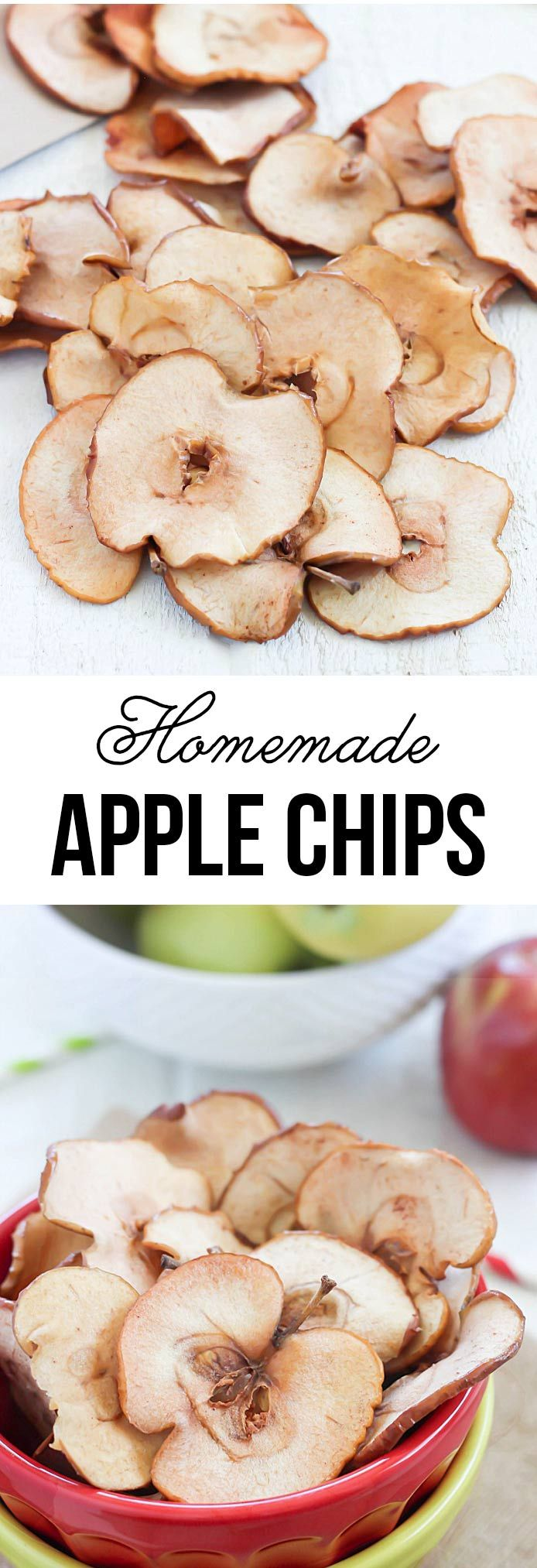 Homemade baked cinnamon apple chips -an easy, healthy and delicious snack
