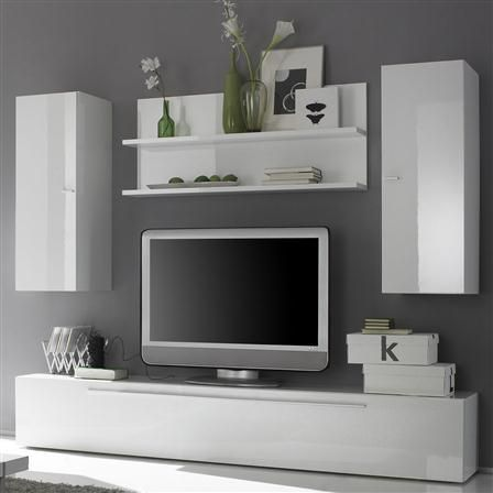 Long TV Cabinet 2 Vertical Cabinets And Shelf Gloss White Tv CabinetsLiving Room SetsBed