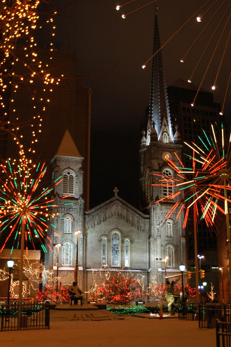 """Cleveland, Ohio's """"Old Stone Church"""" at Christmas Downtown."""