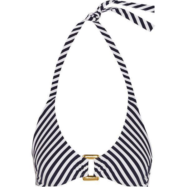 Heidi Klein Striped triangle bikini top ($68) ❤ liked on Polyvore featuring swimwear, bikinis, bikini tops, bikinit, midnight blue, tankini top, gold neck tie, scrunch bottom bikini, swimsuit tops and ruched bikini bottom