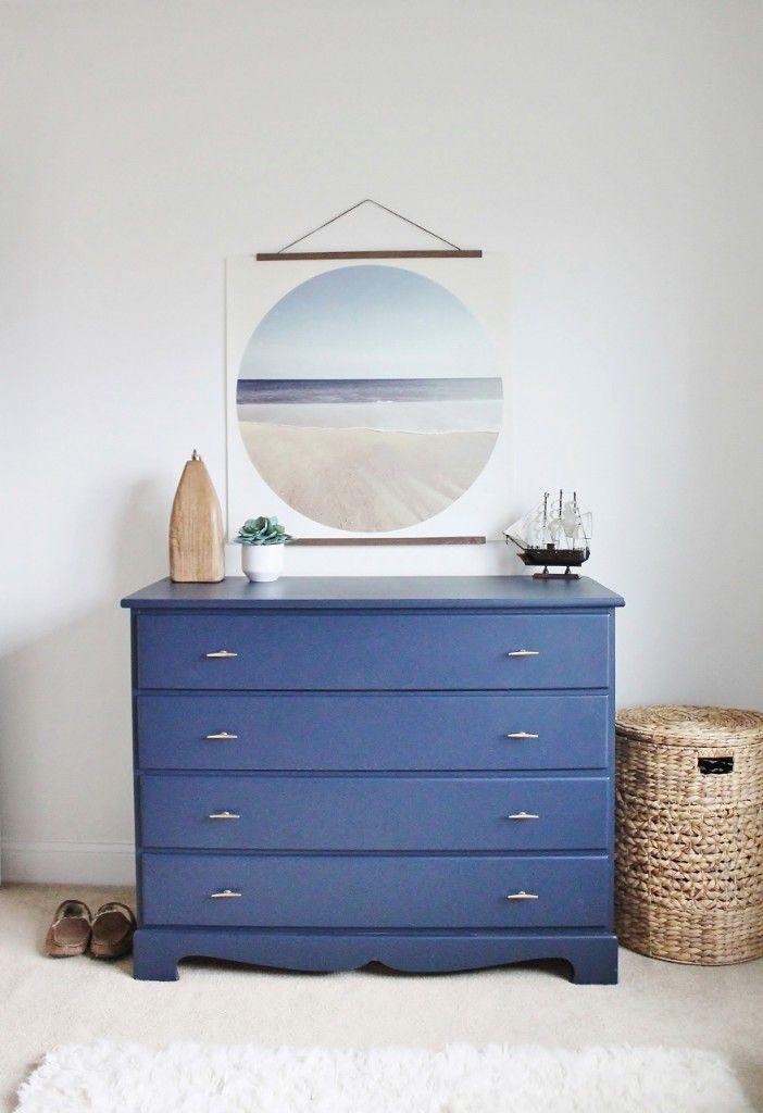 Painted Dresser Sherwin Williams Naval Blue, Anthropologie Hardware
