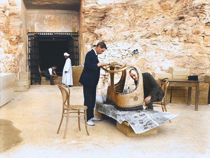 Tutankhamun's tomb, 1922 (colourised)