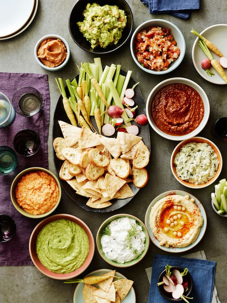 Dip Party -- recipes for salsa, guac, kopanisti, spinach artichoke dip, tzatziki, goddess dressing and bean dip!