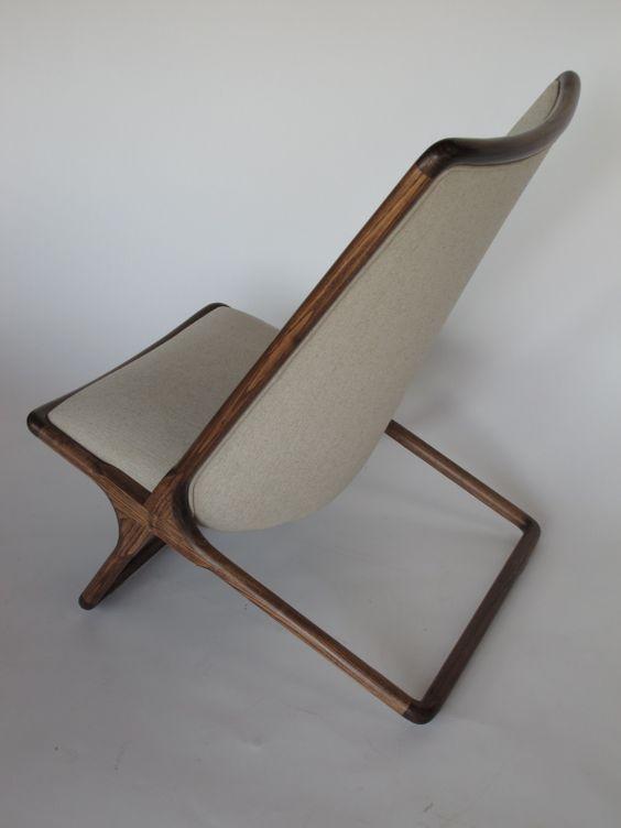 A Pair of Ward Bennett Scissor Chairs in Natural Linen