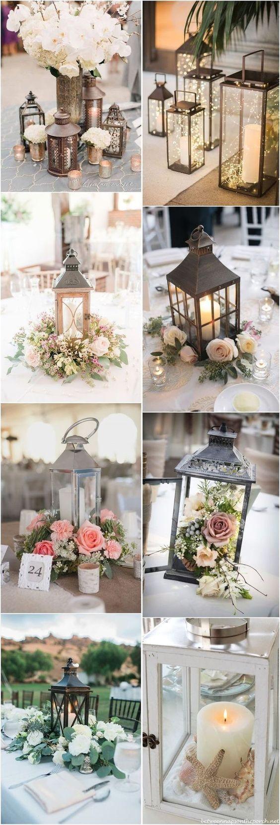 Wenn Sie schwarze Laternen und dunkelviolette oder rote Blumen verwenden, würden diese erstaunlich aussehen   – Hochzeitsdeko