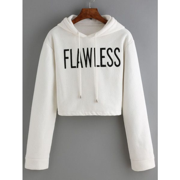Hooded Drawstring Letter Print Crop Sweatshirt ($17) ❤ liked on Polyvore featuring tops, hoodies, sweatshirts, white, white sweatshirt, hooded sweat shirt, hooded sweatshirt, cotton pullovers and pullover hoodie sweatshirt