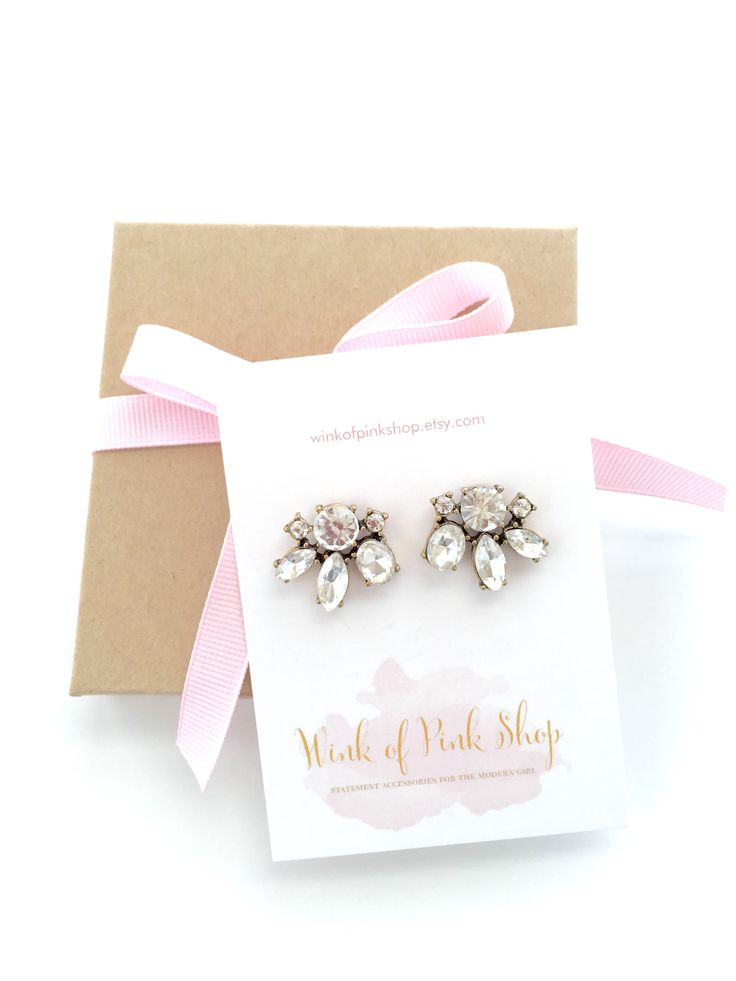 Crystal Flower Wedding Bridesmaid Earrings