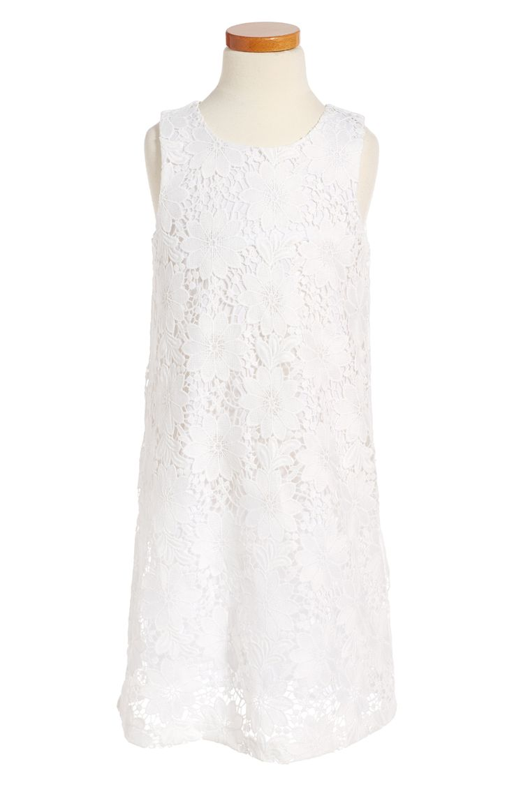 White Lace Sleeveless Flower Girl Dress - Lace Sleeveless Shift Dress