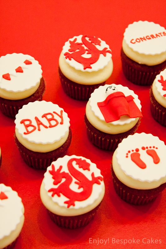 Dragon Baby Shower Cupcakes - red egg & ginger - mun yuet - Chinese one month birthday - ideas