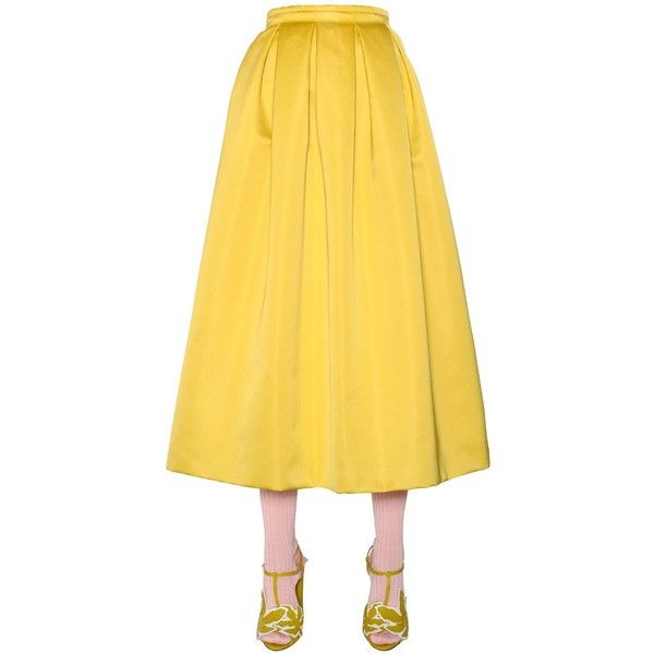 Rochas Women High Waisted Duchesse Flared Skirt (£670) ❤ liked on Polyvore featuring skirts, yellow, skater skirt, pleated skater skirt, circle skirt, yellow skater skirt and high waisted circle skirt
