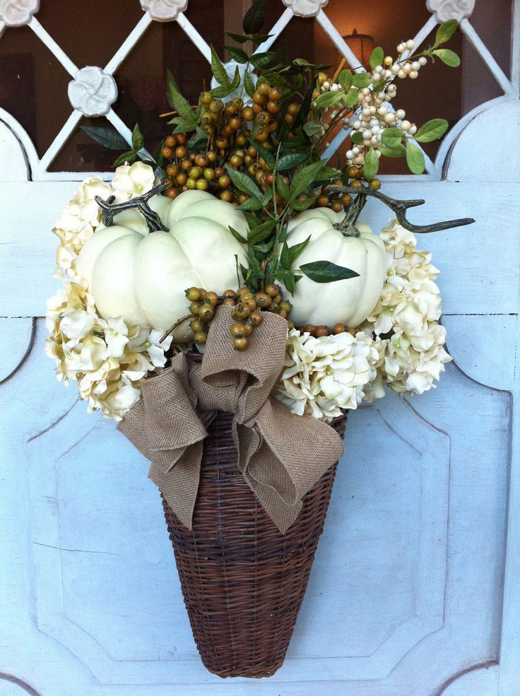 Fall Door Decor...really like: Fall Decor, Doors Hangers, Doors Decor, Fall Doors, Falldecor, Front Doors, White Pumpkin, Baskets, Wreaths