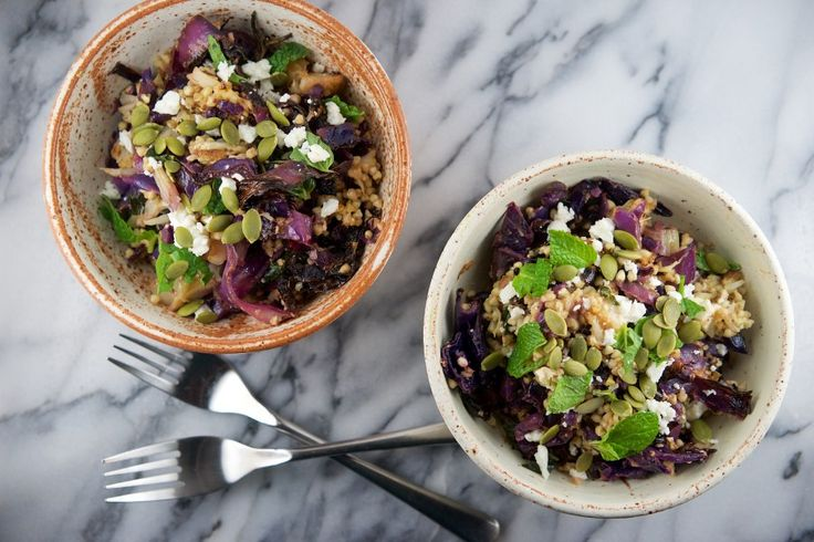 Roasted red cabbage, cauliflower and fennel with toasty buckwheat, creamy feta and a tangy dressing