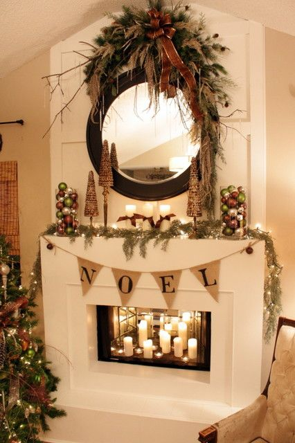 Pretty Fireplace decor (minus that growth above the mirror...agreed, Nikki!). Instead, sometimes, it's pretty to secure a wreath right to the mirror. A bittersweet berry wreath? Greens and ribbons? Greens with ornaments?