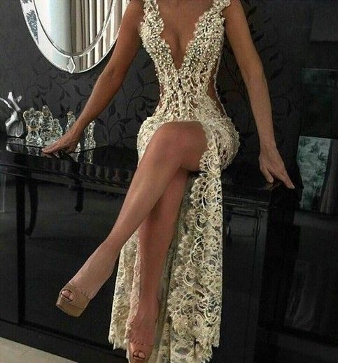 Custom Charming Ivory Beading Lace Prom Dress,Sexy Deep V-Neck Evening Dress,Sexy See Through Backless Prom Dress,116