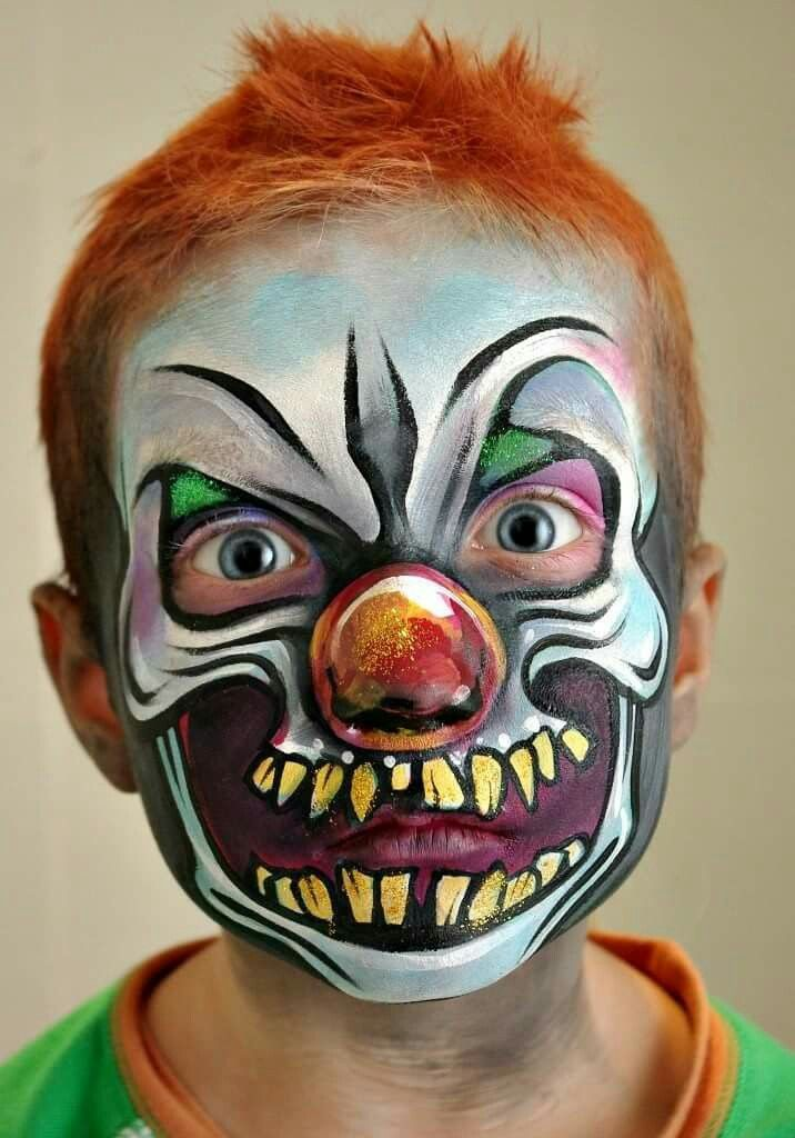 Tanya Maslova scary clown face painting design