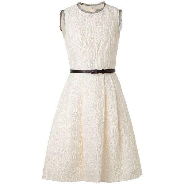 JASON WU Cream Lace Detailing Flounce Dress With Belt ($850) ❤ liked on Polyvore featuring dresses, vestidos, vestiti, jason wu, haljine, white sleeveless dress, cream cocktail dress, white skater skirt, sleeveless dress and circle skirts