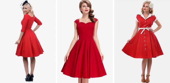 Короткие красные платья в стиле ретро