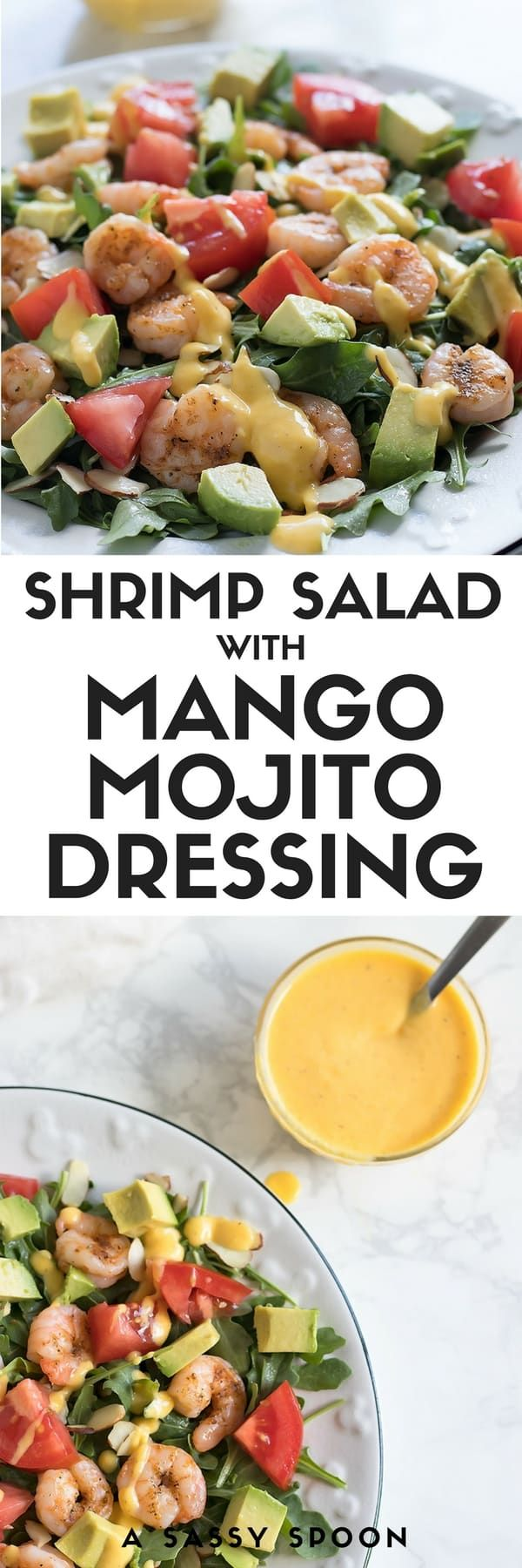 Give this simple shrimp, avocado, tomato salad a tropical twist by adding a deliciously creamy homemade mango mojito dressing! Don't forget the almonds for some added CRUNCH. via @asassyspoon