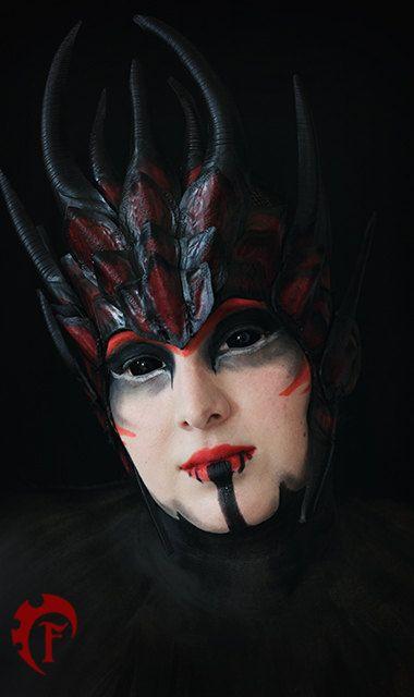 Corona de la reina viuda negra, cuero, diadema, armadura, armadura, negro, rojo…