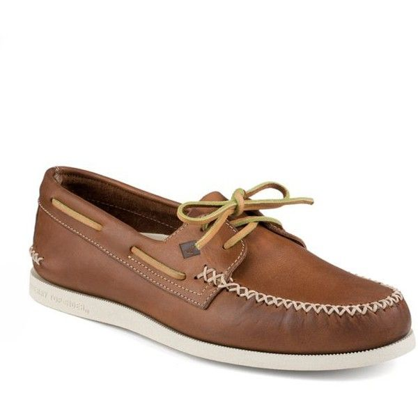 Sperry Tan Ao Wedge Boat Shoe (£83) ❤ liked on Polyvore featuring men's fashion, men's shoes, men's loafers, tan, sperry top sider mens shoes, mens lace up shoes, mens wedge shoes, sperry mens shoes and mens deck shoes