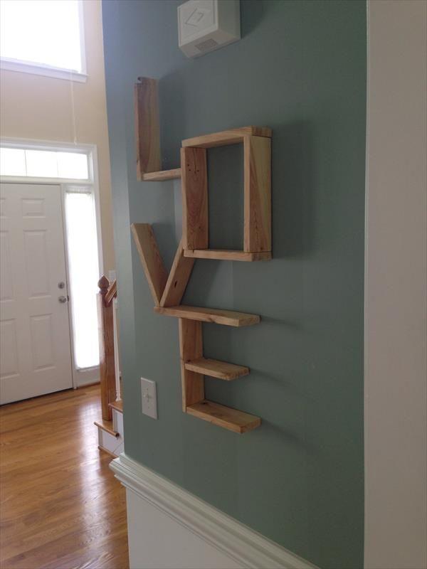 diy pallet love wall shelf