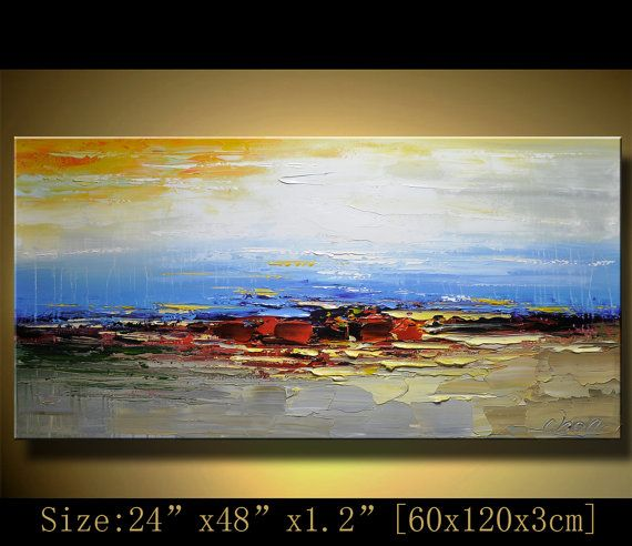 Original Abstract Painting, Modern Landscape Painting ,Palette Knife, Home Decor,Thick Textured Painting on Canvas  by Chen  n034