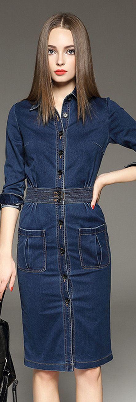 Blue Denim Knee Length Dress, Size:0/ 2/ 6/