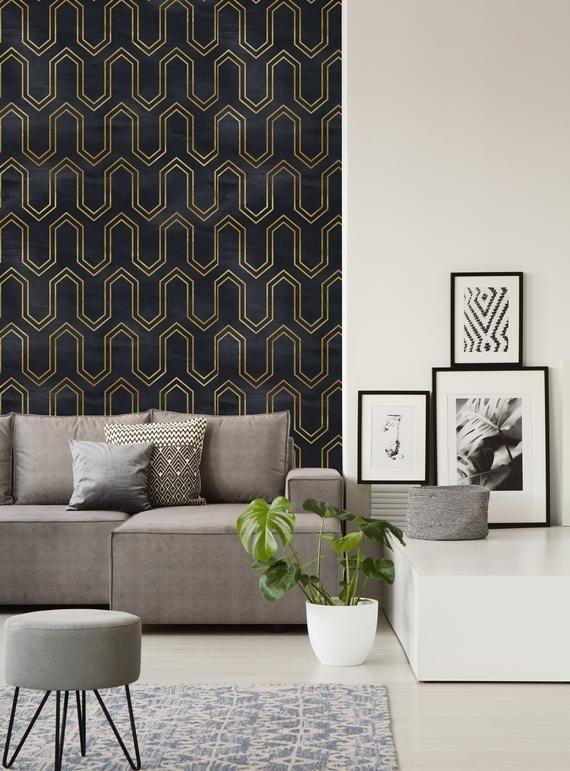 Removable Wallpaper Peel And Stick Wallpaper Self Adhesive Etsy Peel And Stick Wallpaper Gold Geometric Wallpaper Wallpaper Roll
