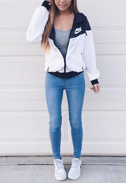 nike jacket + skinny jeans / fashion trends