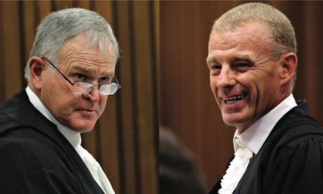 Barry Roux and Gerrie Nel are formidable courtroom opponents. Photograph: Reuters/AFP