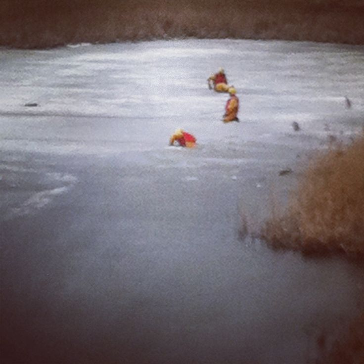 DC firefighters practicing their ice rescues