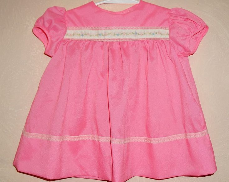 Vintage Baby Pink Dress Lace Trim Embroidered Flowers Sz 12-18 month #unknown #Easter